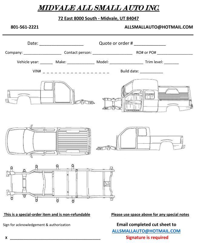 Extended Cab Truck Cut Sheet